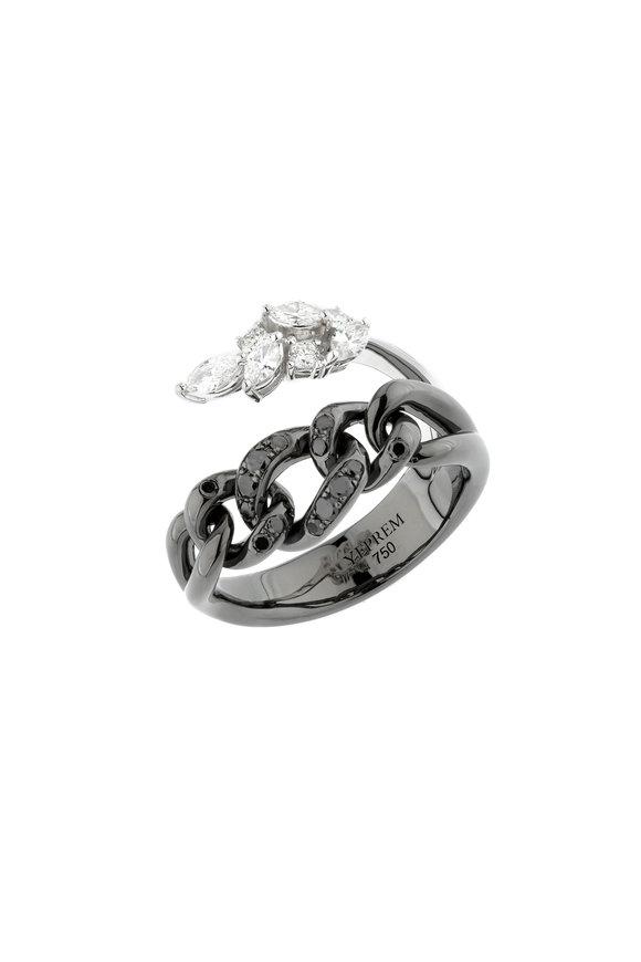 Yeprem 18K Blackened White Gold  Diamond Chain Ring