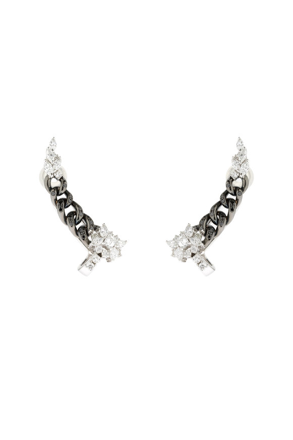 Yeprem 18K White Gold Black Diamond Ear Climbers