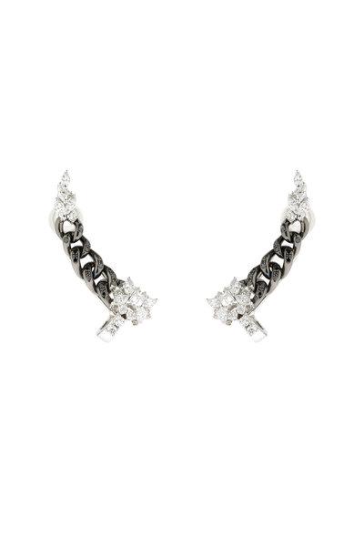 Yeprem - 18K White Gold Black Diamond Ear Climbers