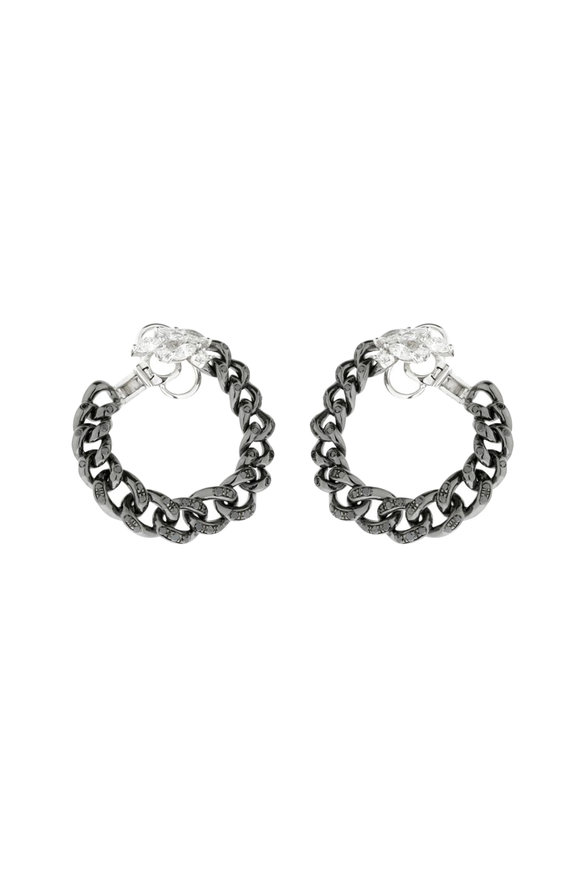 Yeprem 18K White Gold Black Diamond Chain Hoop Earrings