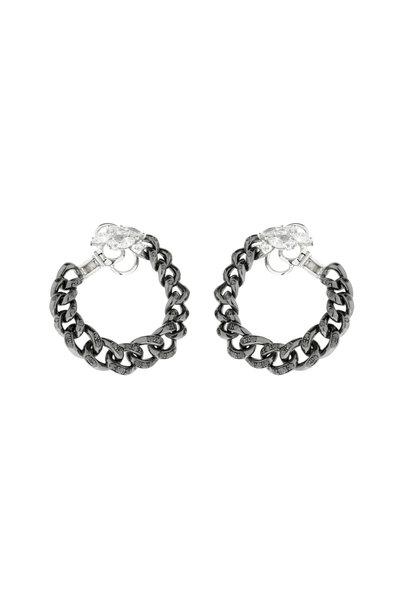 Yeprem - 18K White Gold Black Diamond Chain Hoop Earrings