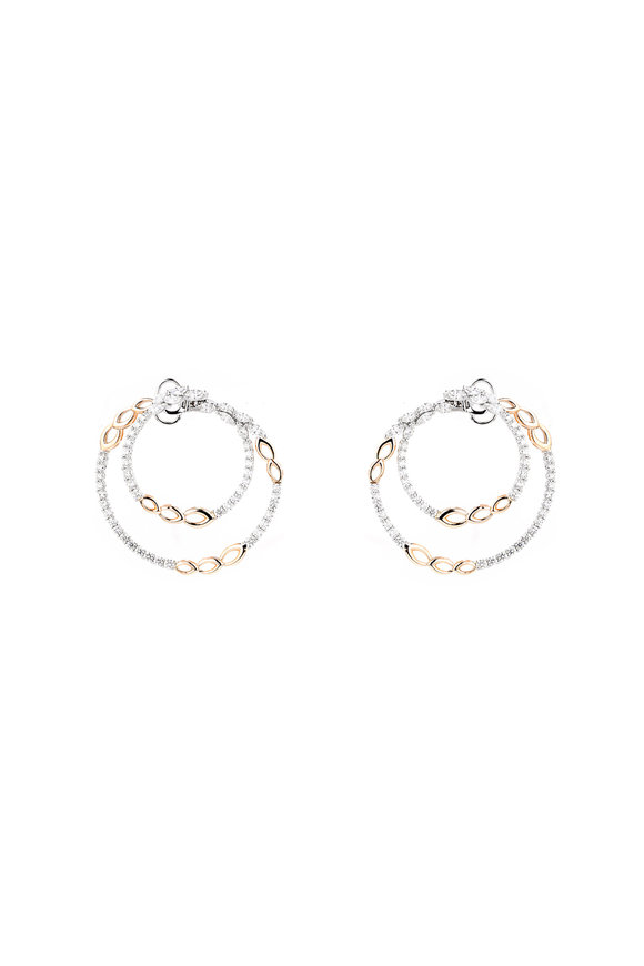 Yeprem 18K Rose & White Gold Chain Hoop Earrings