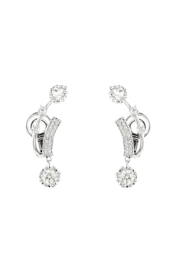 Yeprem 18K White Gold Round & Pear Shape Diamond Earrings