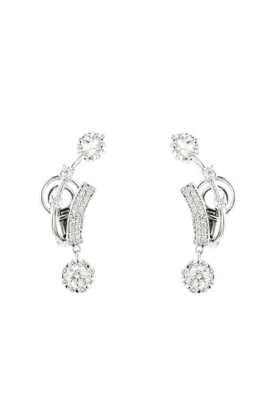 Yeprem - 18K White Gold Round & Pear Shape Diamond Earrings