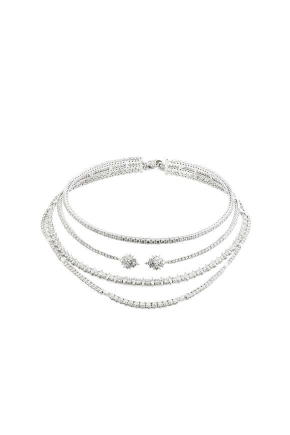 Yeprem 18K White Gold Four Strand Diamond Choker