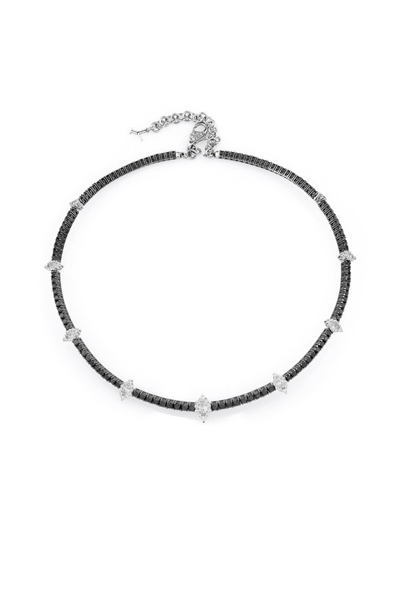 Yeprem 18K White Gold Black & White Diamond Choker