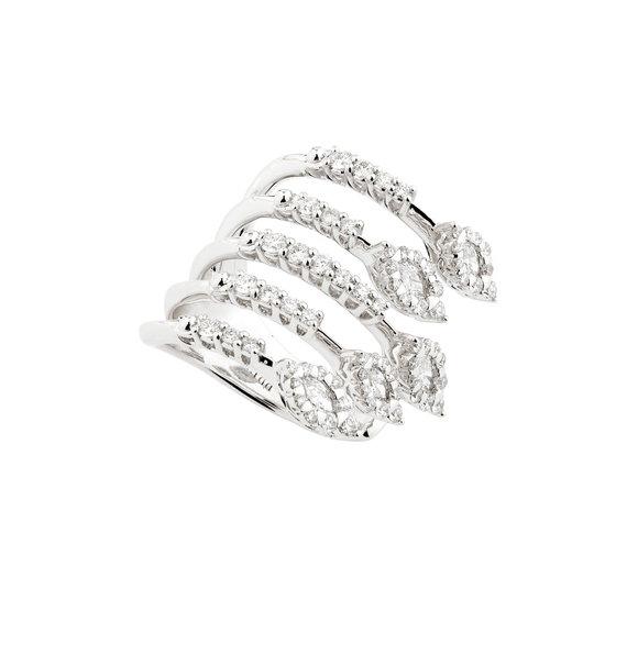 Yeprem 18K White Gold Diamond Five Band Ring