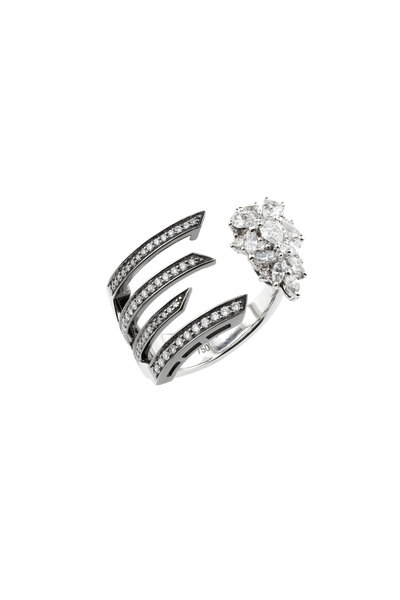 Yeprem - 18K Blackened White Gold Diamond Finger Cuff