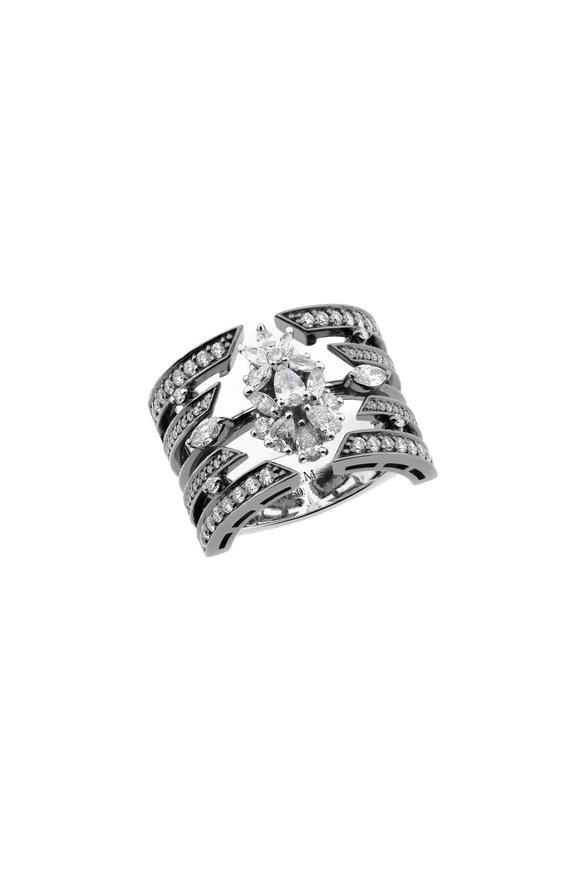 Yeprem 18K White Gold Diamond Cage Ring