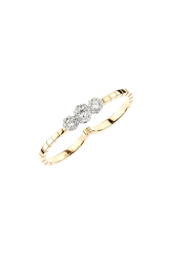 Yeprem 18K Rose Gold Diamond Double Finger Ring