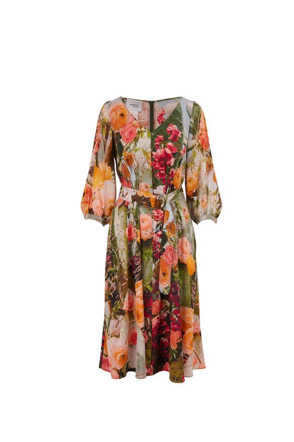 Akris Punto Multicolor Cactus Blossom Print Silk Dress