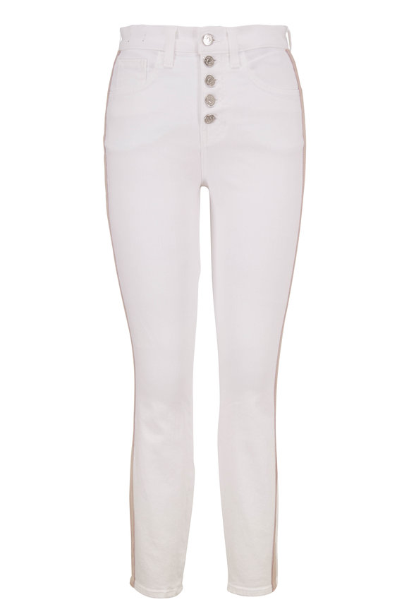 Veronica Beard Debbie White Side Stripe High-Rise Skinny Jean