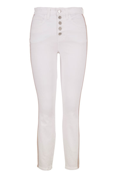 Veronica Beard - Debbie White Side Stripe High-Rise Skinny Jean