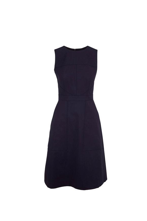 Carolina Herrera Navy Blue Seamed A-Line Sleeveless Dress