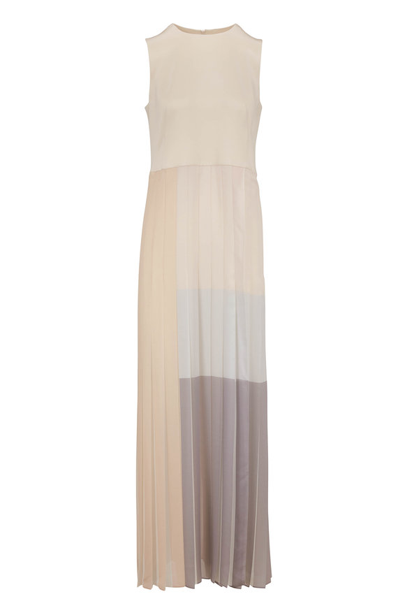 Akris Silver Canvas Silk Chiffon Plissé Skirt Dress