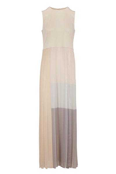 Akris - Silver Canvas Silk Chiffon Plissé Skirt Dress