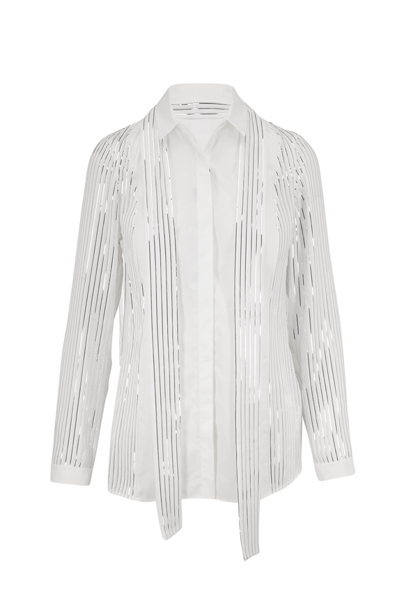 Akris Jasmine & Silver Foil Button Down Blouse