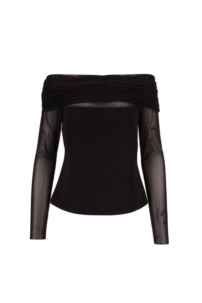 Cushnie - Black Off-The-Shoulder Fitted Tulle Overlay Top