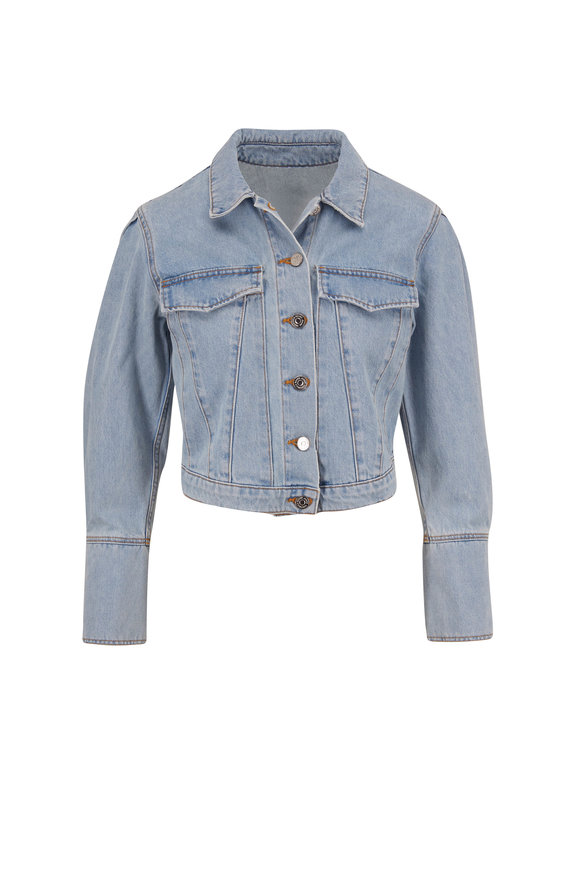 Veronica Beard Bright Blue Pouf Sleeve Crop Denim Jacket