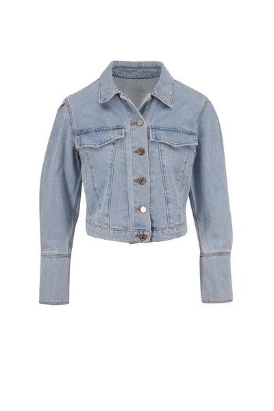 Veronica Beard - Bright Blue Pouf Sleeve Crop Denim Jacket