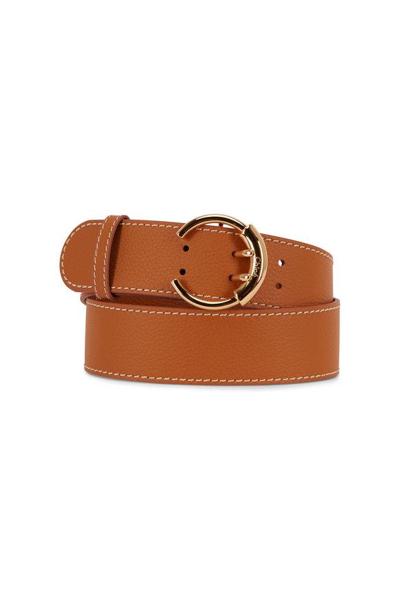 Chloé Roy Burning Camel Pebbled Leather C Buckle Belt