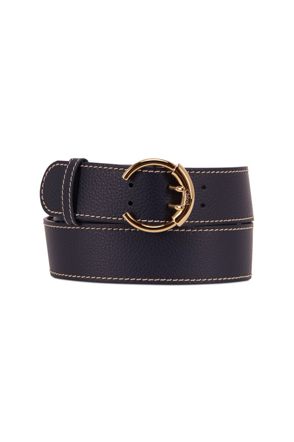 Chloé Roy Full Blue Pebbled Leather C Buckle Belt