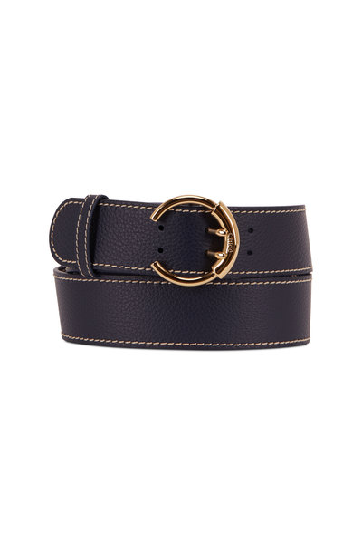Chloé - Roy Full Blue Pebbled Leather C Buckle Belt