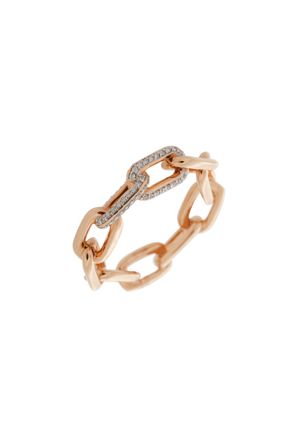 Walters Faith 18K Rose Gold Large Saxon Diamond Link Ring