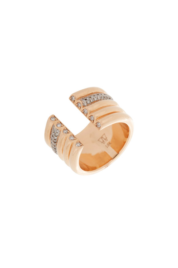 Walters Faith 18K Rose Gold Tubular Thoby Diamond Ring