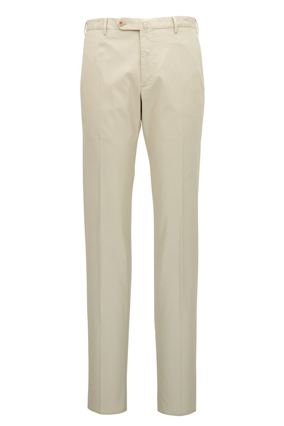 Incotex Micky Khaki Stone Cotton & Silk Modern Fit Pant