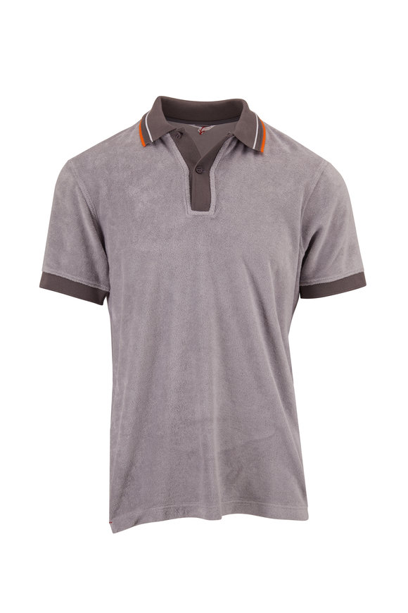 Orlebar Brown Sawyer Towelling Alloy Tailored Fit Gray Polo