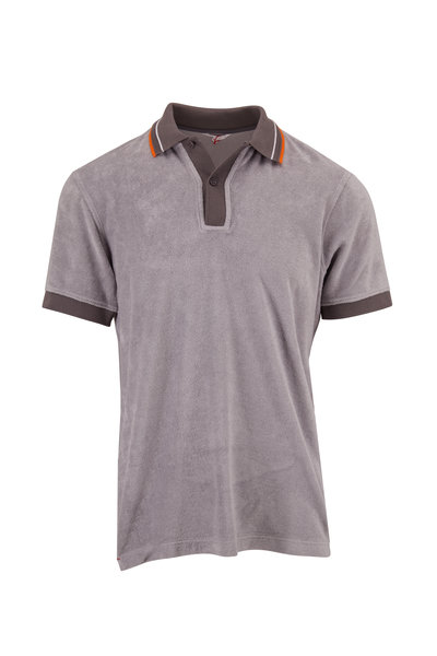 Orlebar Brown - Sawyer Towelling Alloy Tailored Fit Gray Polo