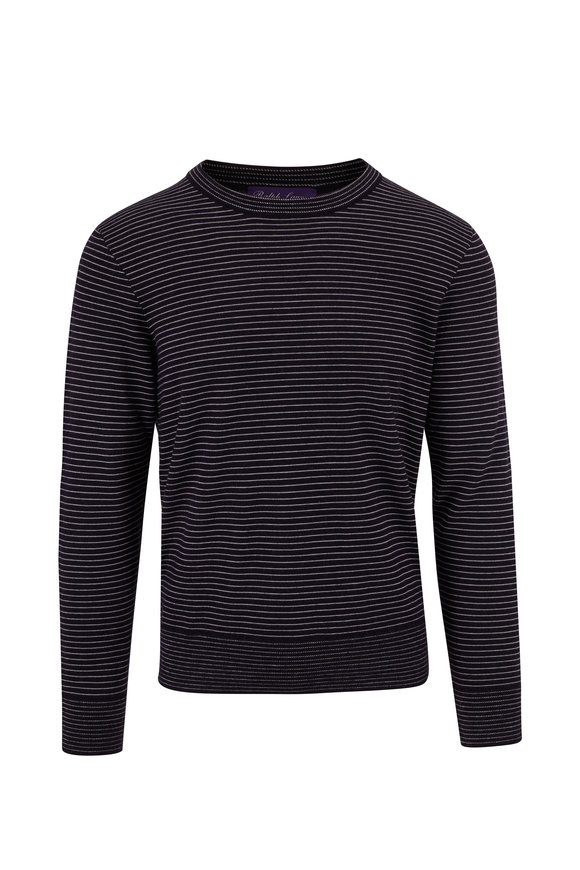 Ralph Lauren Navy & White Striped Cashmere Crewneck Sweater