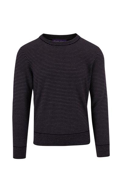 Ralph Lauren - Navy & White Striped Cashmere Crewneck Sweater