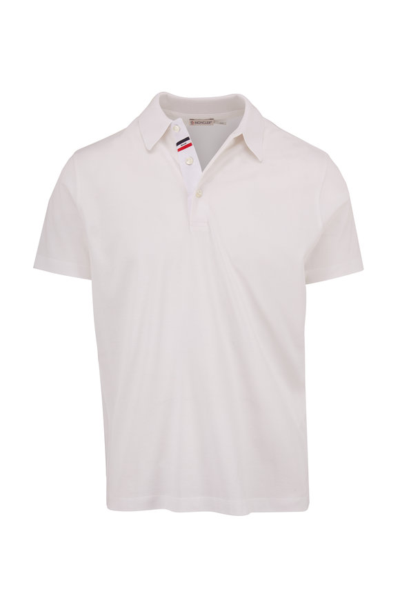 Moncler White Cotton Knit Collar Polo
