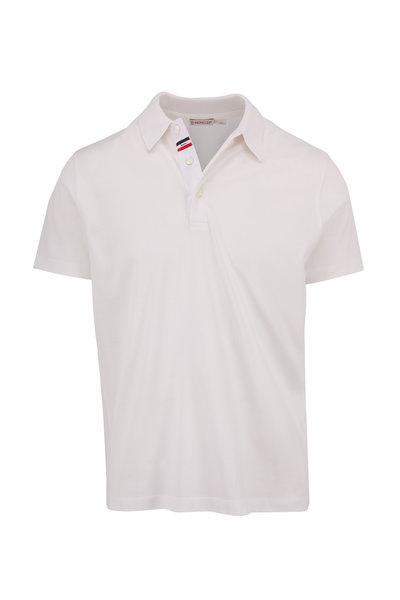 Moncler - White Cotton Knit Collar Polo
