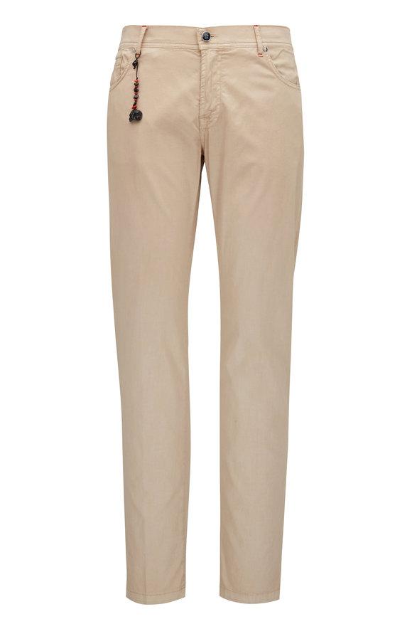 Marco Pescarolo Tan Cotton & Silk Five Pocket Pant