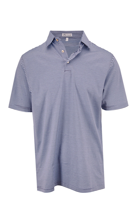 Peter Millar Navy Blue Marley Striped Polo