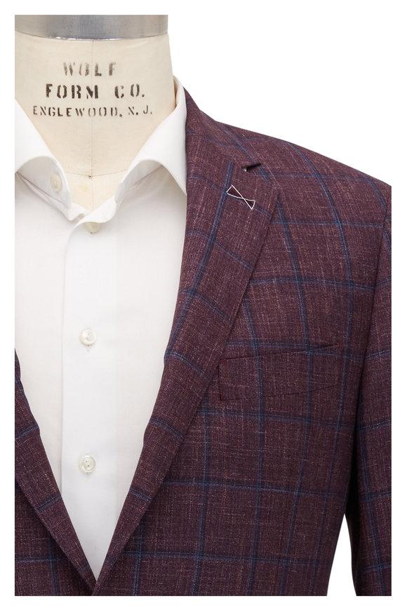 Atelier Munro Purple & Blue Windowpane Wool & Silk Sportcoat