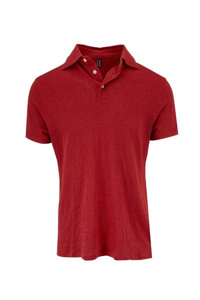 04651/ - Tamarillo Red Linen Polo
