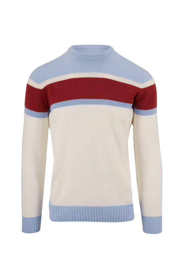 04651/ Sky Blue Bouclé Striped Crewneck Sweater