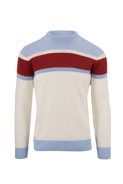 04651/ - Sky Blue Bouclé Striped Crewneck Sweater
