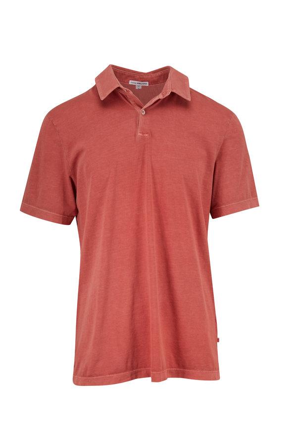 James Perse Rose Tea Cotton Jersey Polo