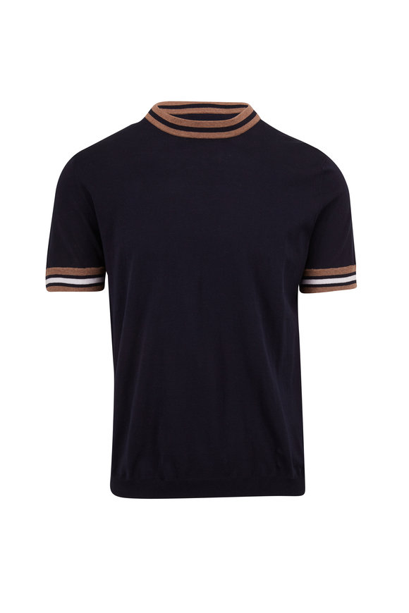 Autumn Cashmere Navy Blue & Striped Trim Short Sleeve Sweater
