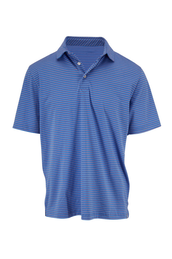Peter Millar Lazuline Blue & Red Striped Polo