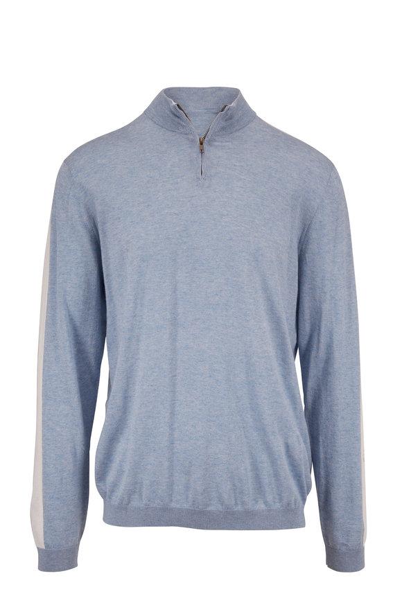 Autumn Cashmere Horizon Pure Cotton & Cashmere Quarter-Zip Sweater