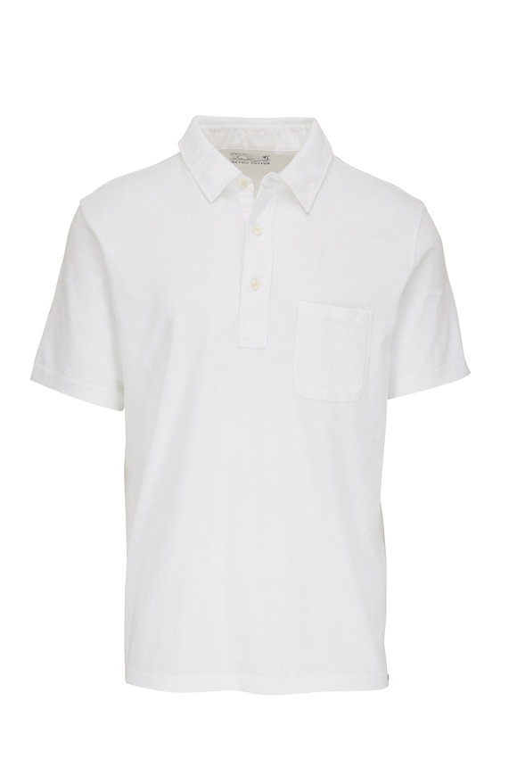 Faherty Brand Sunwashed Solid White Polo