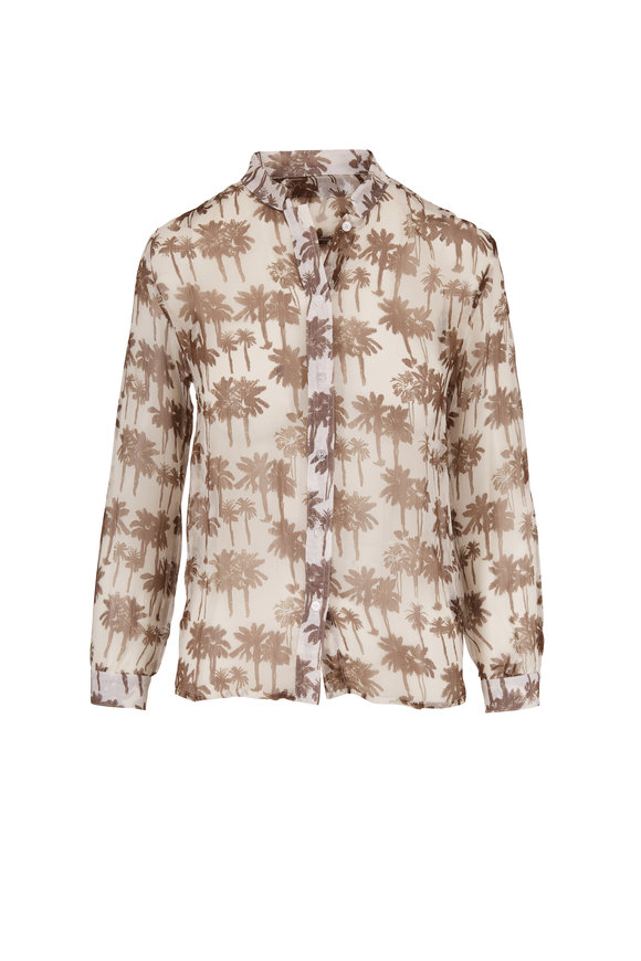 SPRWMN LLC White & Brown Silk Palm Tree Print Blouse