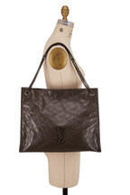 Saint Laurent - Nikki Pebble Gray Quilted Leather Large Tote