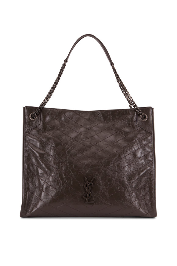 Saint Laurent Nikki Pebble Gray Quilted Leather Large Tote